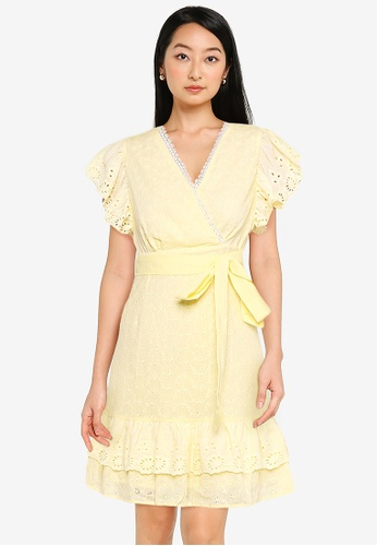 ZALORA BASICS yellow Ruffle Front Eyelet Dress 25183AA6D2BCD6GS_1