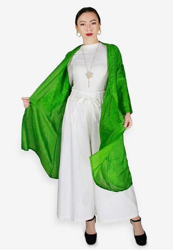 PANGOI green PANGOI Elegant Short Sleeve Cardigan Surface Embroidery 648EBAA8C3DA3DGS_1