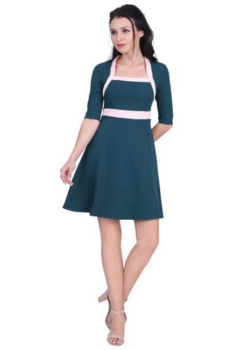 DreamTales Wardrobe blue Square Neck Colourblock Dress 880DBAA34BC885GS_1