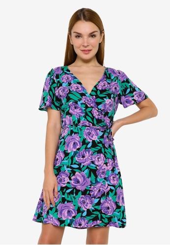 JACQUELINE DE YONG black Staar Life Short Sleeve Wrap Dress 10A1CAA4311F0AGS_1