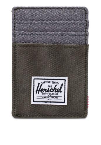 Herschel grey and green Raven RFID Wallet D1685ACB39F876GS_1