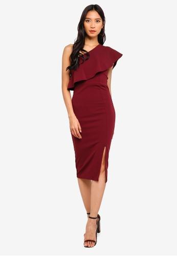 MISSGUIDED 紅色 Scuba 1 Shoulder 褶飾洋裝 60F09AA2086A74GS_1
