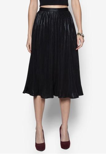 Festive Midi Pleated Metallic Skirt, 服飾,zalora鞋子評價 及膝裙
