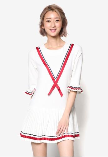 緞esprit 尖沙咀帶滾邊褶飾下擺連身裙, 服飾, 洋裝