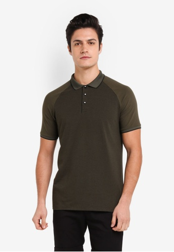 Burton Menswear London green Khaki Short Sleeve Raglan Polo Shirt 5AA9CAA72898BEGS_1
