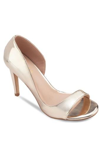 亮面露趾側空高跟鞋, 女鞋, zalora 折扣碼鞋