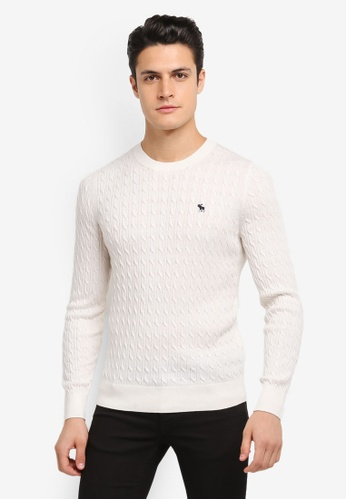 Abercrombie & Fitch white Crew Neck Logo Sweatshirt AB423AA0SJNEMY_1