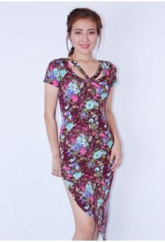 One side slit floral dress