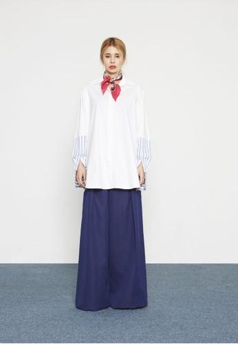 條紋拼接長袖襯衫, esprit tw服飾, 上衣