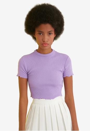 Trendyol purple High Neck Lettuce Trim Top 4901EAA7536513GS_1