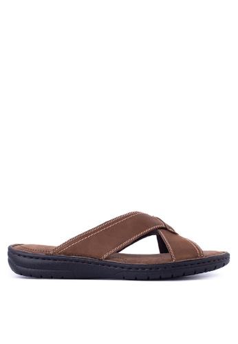 Alberto brown Slide Flat Sandals AL375SH97QEKPH_1