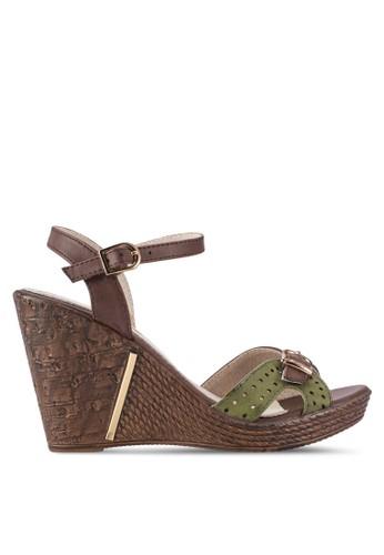 針扣繞踝帶露esprit 眼鏡趾楔型鞋, 女鞋, 鞋