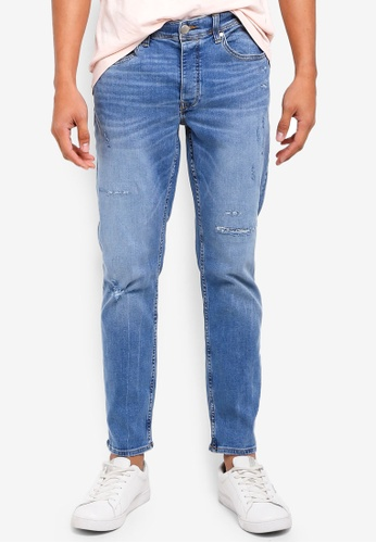 River Island blue Slim Fit Ripped Jeans 442D5AAD4F456EGS_1