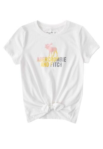 Abercrombie & Fitch white Logo Tie Front Tech Core Top 7ECD0KAB4A1DFFGS_1