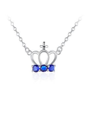 Glamorousky blue Fashion Elegant Crown Necklace with Blue Austrian Element Crystal 9183EACE878BF9GS_1