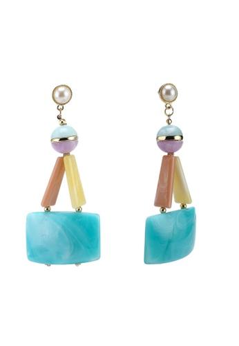 Pastel Marble Resin Statement Earrings