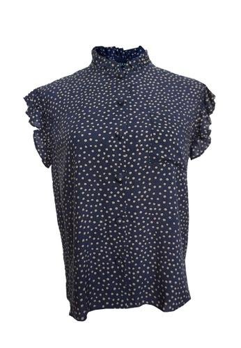 Love Knot navy Cece Polka Dot  Button Down Top (Navy Blue) 42B8EAAC24FB86GS_1