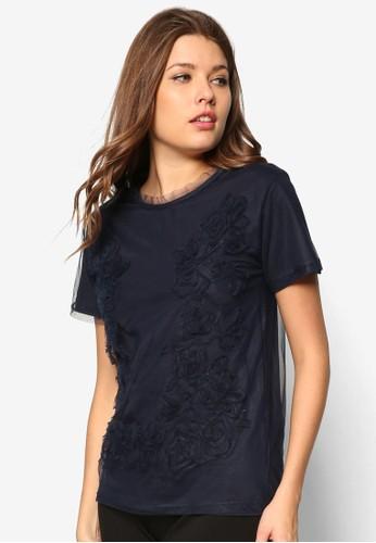 Argyle鉤花網esprit tw紗短袖上衣, 服飾, 服飾