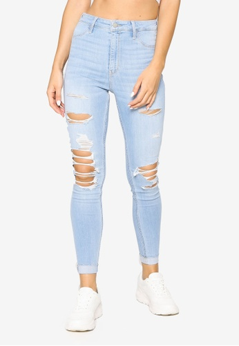 Hollister blue Ultra High Rise Shred Jeans C79B8AAE11E6E0GS_1