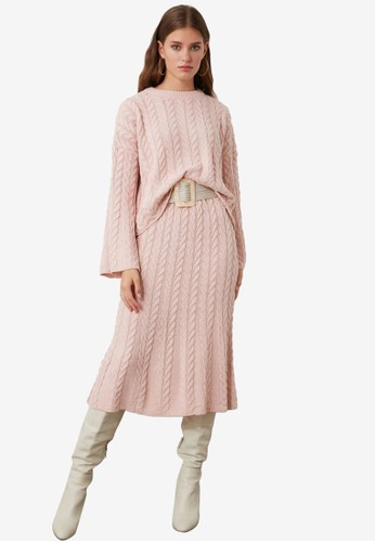 Trendyol pink Cable Knit Sweater Top-Bottom Set B6EDEAA1DA853EGS_1