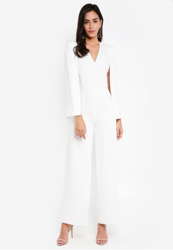 Lavish Alice white Deep Plunge Cape Wide Leg Jumpsuit LA457AA0SSPTMY_1