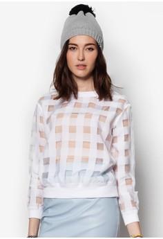 White Checkered Sheer Top