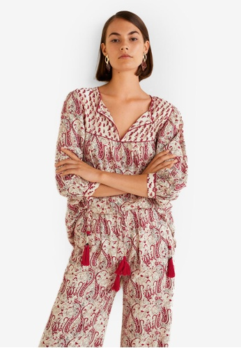 Mango white and red Contrasting Print Blouse 473ECAA1C25C90GS_1