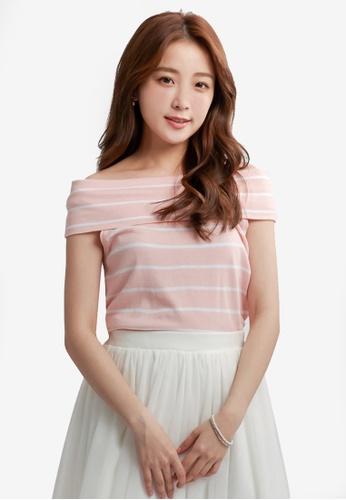 YOCO pink Striped Off-Shoulder Top 41F9FAAD24CF4BGS_1