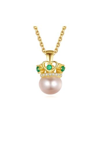 SUNRAIS gold Premium Color Stone Golden Crown Necklace 648EFAC2E53F29GS_1