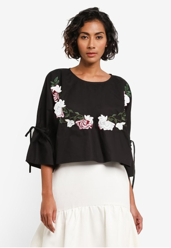 bYSI black Embroidered Floral Tie Sleeve Blouse BY867AA0RNOFMY_1