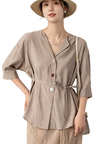 Sunnydaysweety beige Light Mature V-Neck Mid-Sleeve Drawstring Waist Cardigan Top A21031204KI F6D11AAFA25ECDGS_1