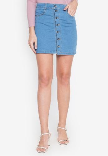 Ninety Nine Point Nine Boutiq blue Denim Full-Button High-Waist Mini Skirt 97821AAD29D992GS_1