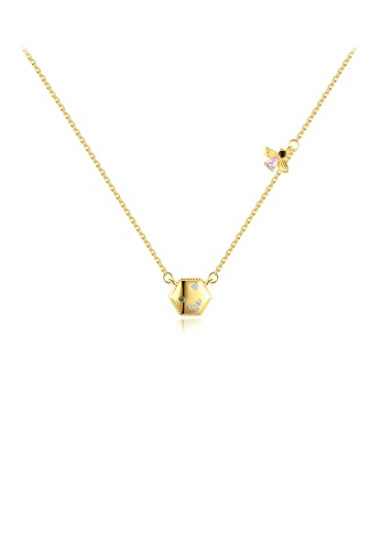 Glamorousky white 925 Sterling Silver Plated Gold Simple Fashion Geometric Diamond Bee Necklace with Cubic Zirconia 850D3AC1AAA34AGS_1