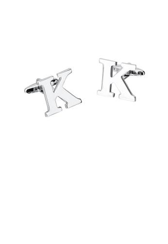 Glamorousky silver Simple Personality English Alphabet K Cufflinks E5D56AC1289D57GS_1