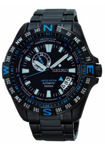 Seiko Blue And Black Stainless Steel Watch