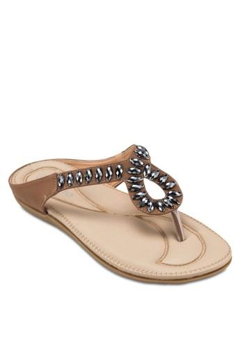 zalora 泳衣串珠夾腳涼鞋, 女鞋, 涼鞋