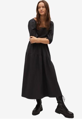 Mango black Puffed Sleeves Dress B1FF0AA46789CDGS_1