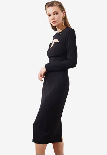 Trendyol black Cut Out Detail Long Sleeve Midi Dress E4577AAA324DB9GS_1