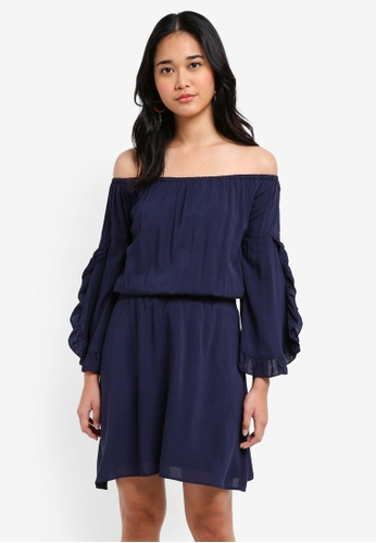 Something Borrowed navy Smocked Waist Off Shoulder Dress A7D33AA77F37D0GS_1