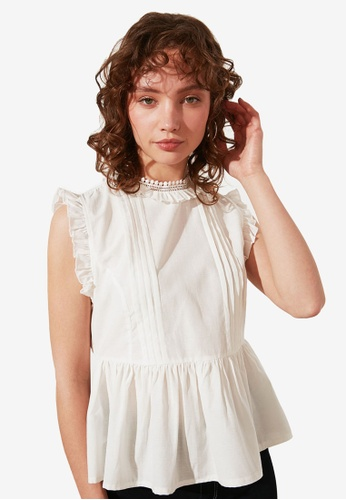 Trendyol white Petite Frilly High Neck Sleeveless Top 5B7F0AACB27C07GS_1