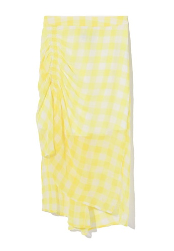 tout à coup yellow Ruched layered mesh skirt AC81AAAC250382GS_1