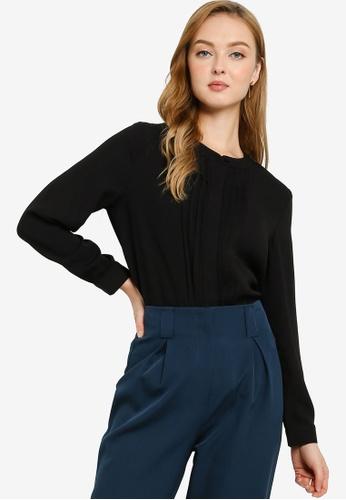ZALORA WORK black Mini Pleats Long Sleeve Blouse 07C3AAAE8F0CA8GS_1
