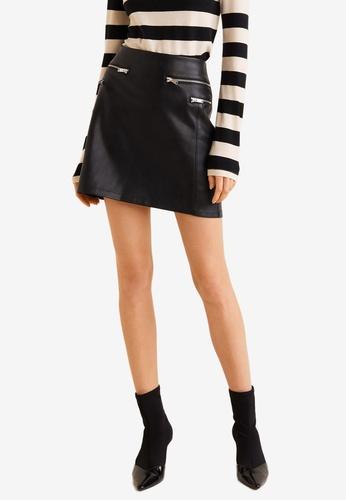 MANGO black Decorative Zip Skirt 25469AAB1DC1E7GS_1
