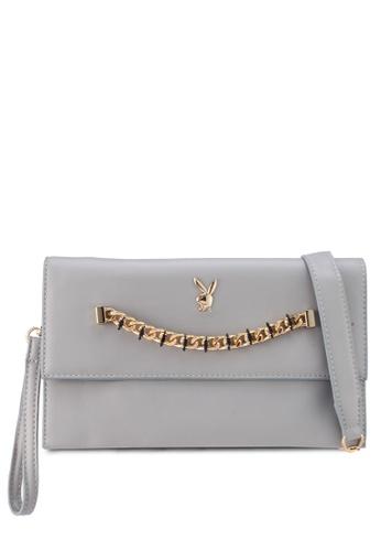 PLAYBOY BUNNY grey Chained Gem Clutch Bag FB416AC1E19936GS_1