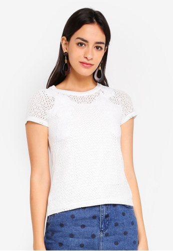 Dorothy Perkins 白色 Petite White Applique Lace Tee 2E63AAA036ACE1GS_1