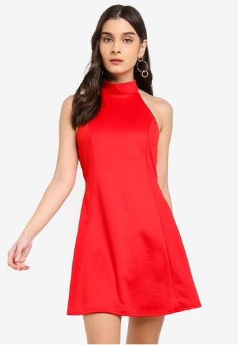 MISSGUIDED red High Neck Racer Skater Dress A540BAA1ED6319GS_1