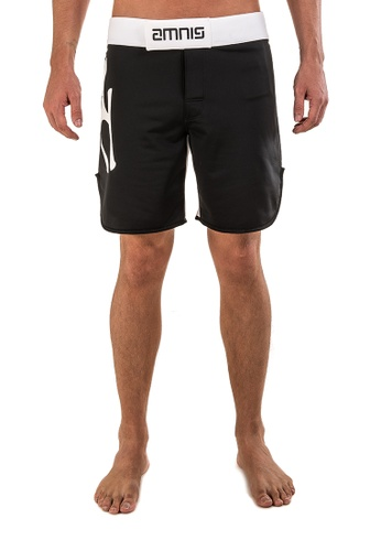 "AMNIG black Men Classic Fighter Shorts-18"" Black White AM133AA40LFZMY_1"