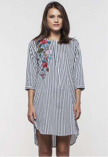 Magnolia Embro Cotton Stripe Dress