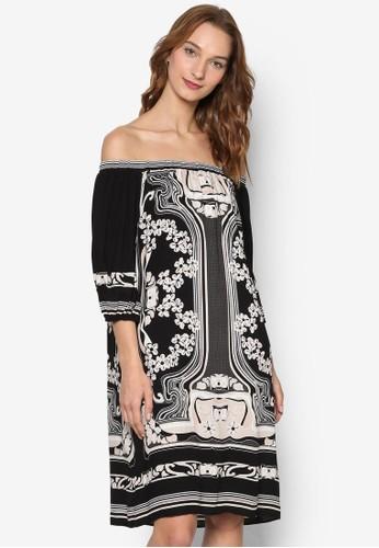 zalora時尚購物網的koumi koumi露肩印花五分袖連身裙, 服飾, 洋裝