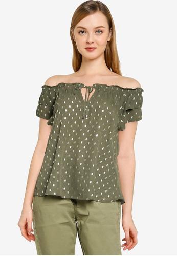 Dorothy Perkins green Khaki Foil Short Sleeve Double Layer Bardot Top C1944AABFE336BGS_1
